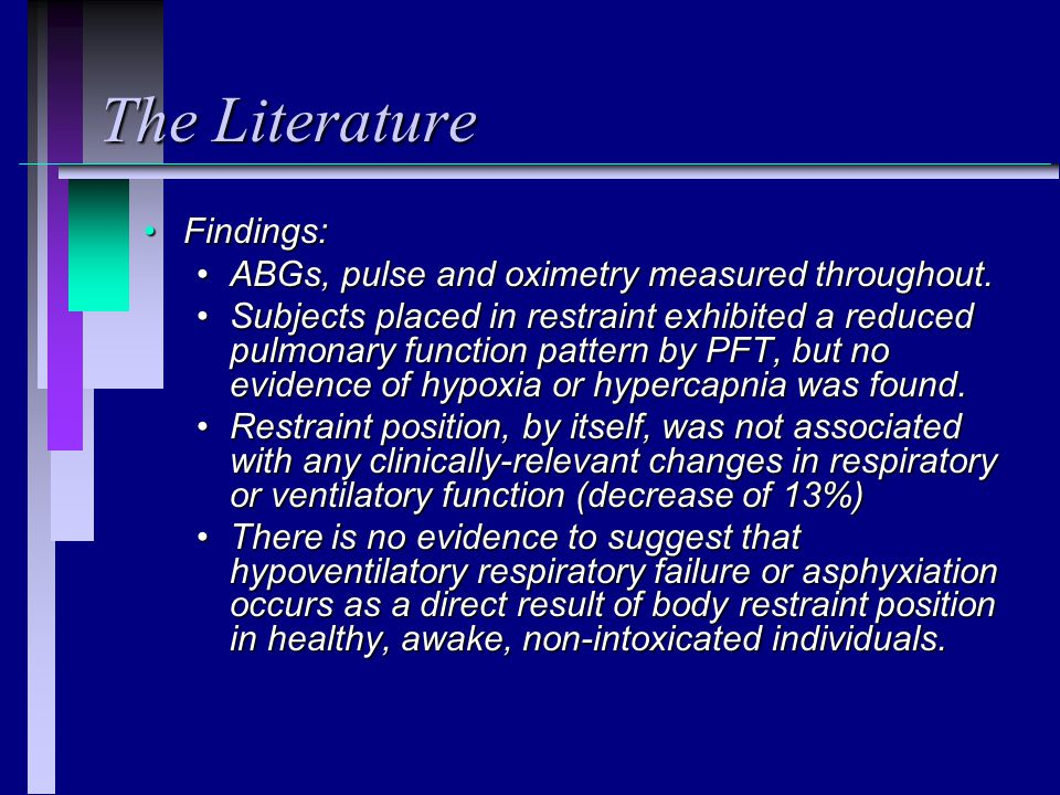 The Literature Findings: ABGs, pulse and oximetry measured throughout.