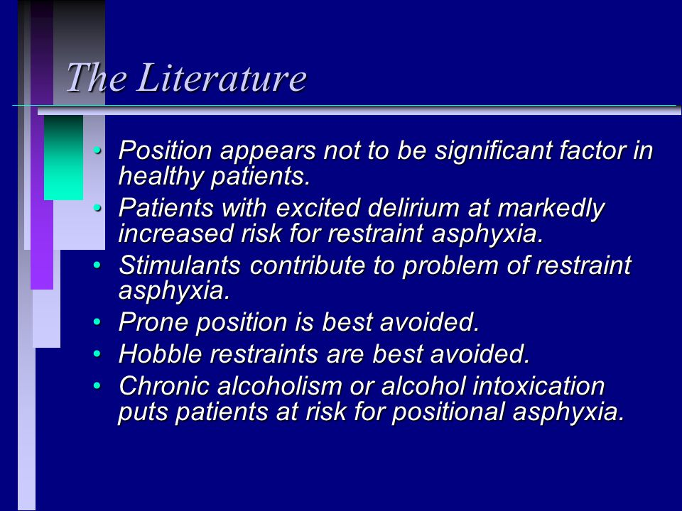 The Literature Position appears not to be significant factor in healthy patients.