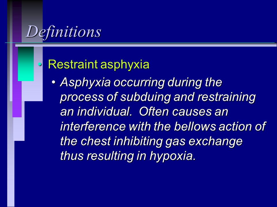 Definitions Restraint asphyxia