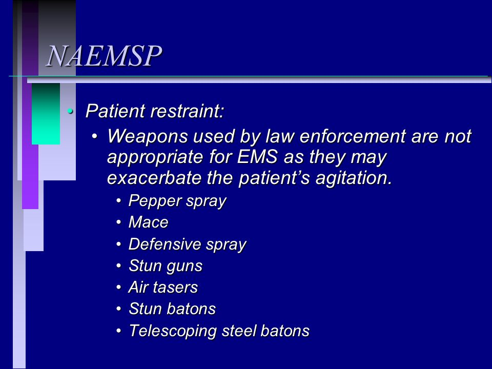 NAEMSP Patient restraint: