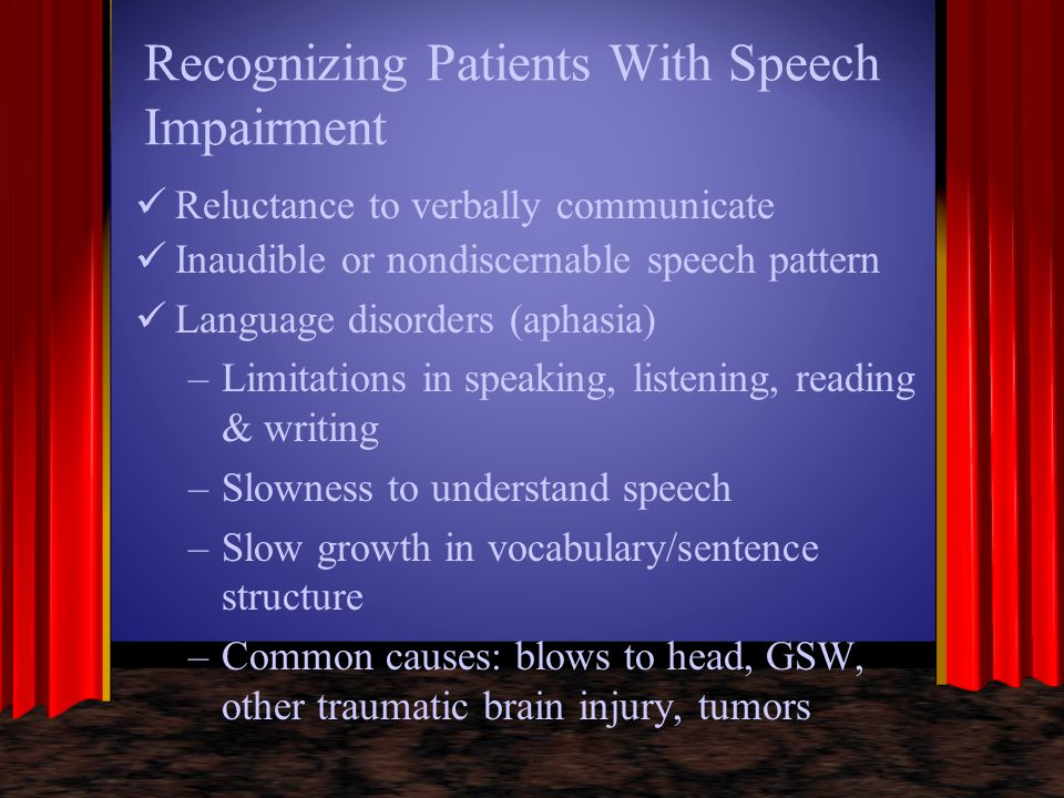 Recognizing Patients With Speech Impairment