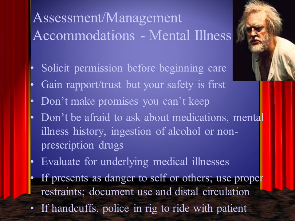 Assessment/Management Accommodations - Mental Illness