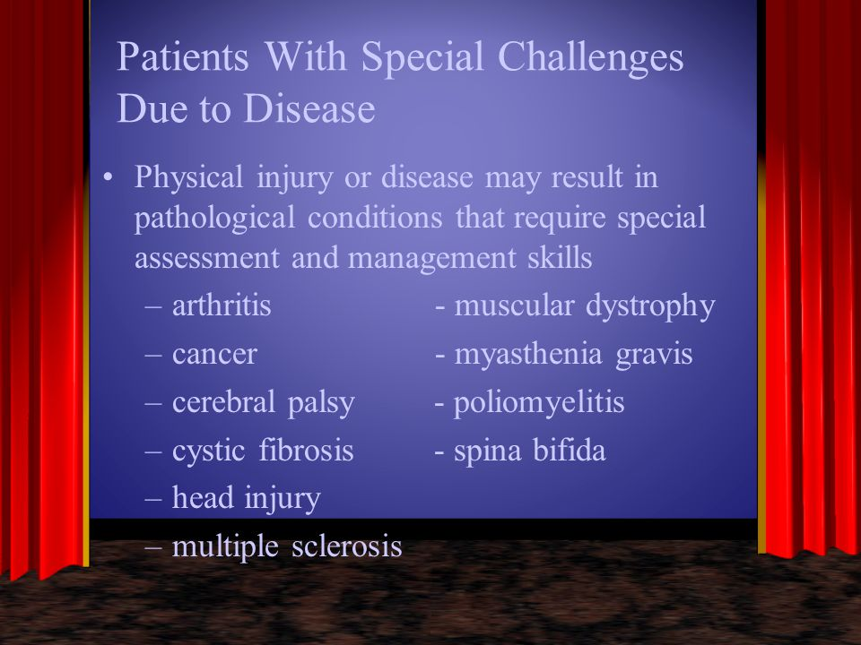 Patients With Special Challenges Due to Disease