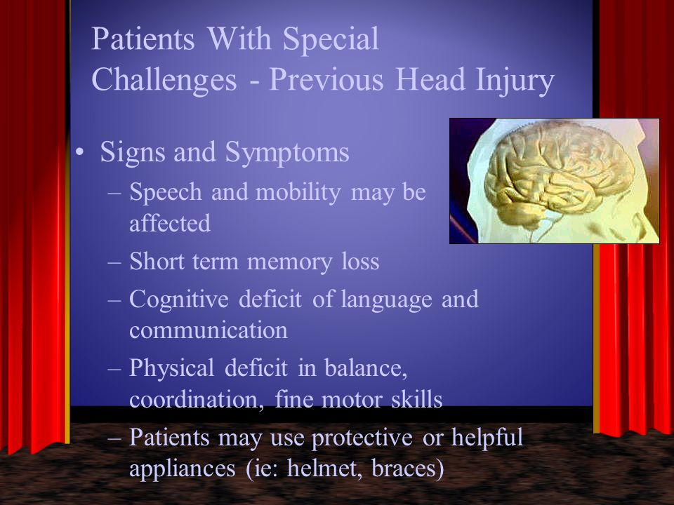 Patients With Special Challenges - Previous Head Injury