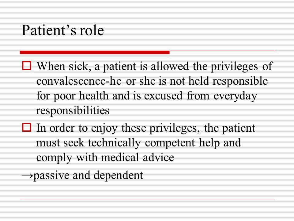 Patient's role
