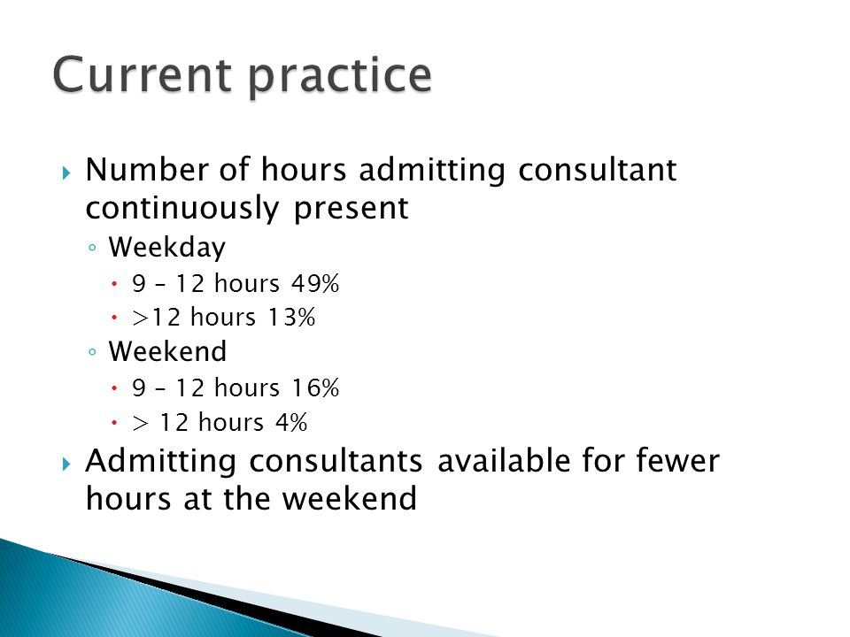 Current practice Number of hours admitting consultant continuously present. Weekday. 9 – 12 hours 49%