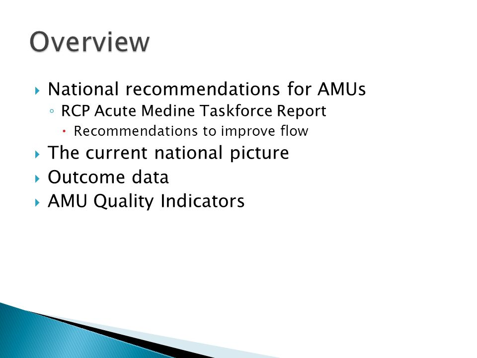 Overview National recommendations for AMUs