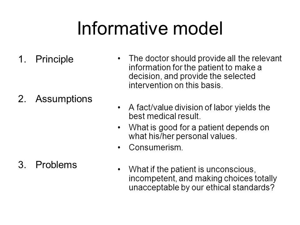 Informative model Principle Assumptions Problems