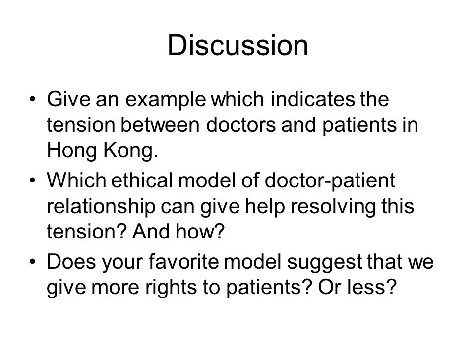 Discussion Give an example which indicates the tension between doctors and patients in Hong Kong.