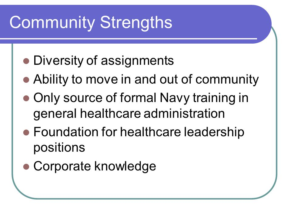 Community Strengths Diversity of assignments
