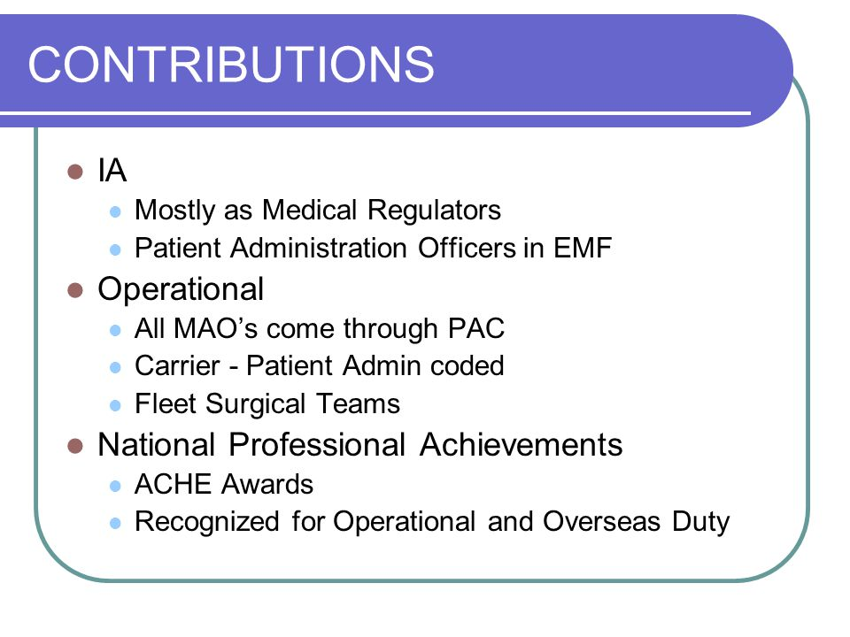 CONTRIBUTIONS IA Operational National Professional Achievements