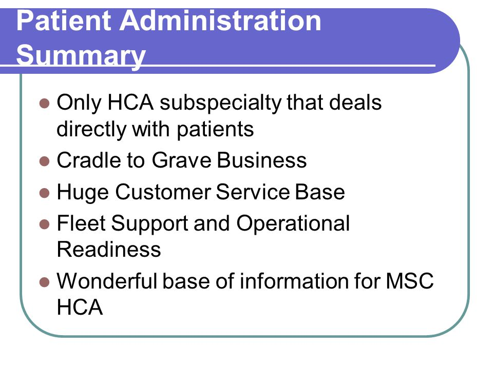 Patient Administration Summary