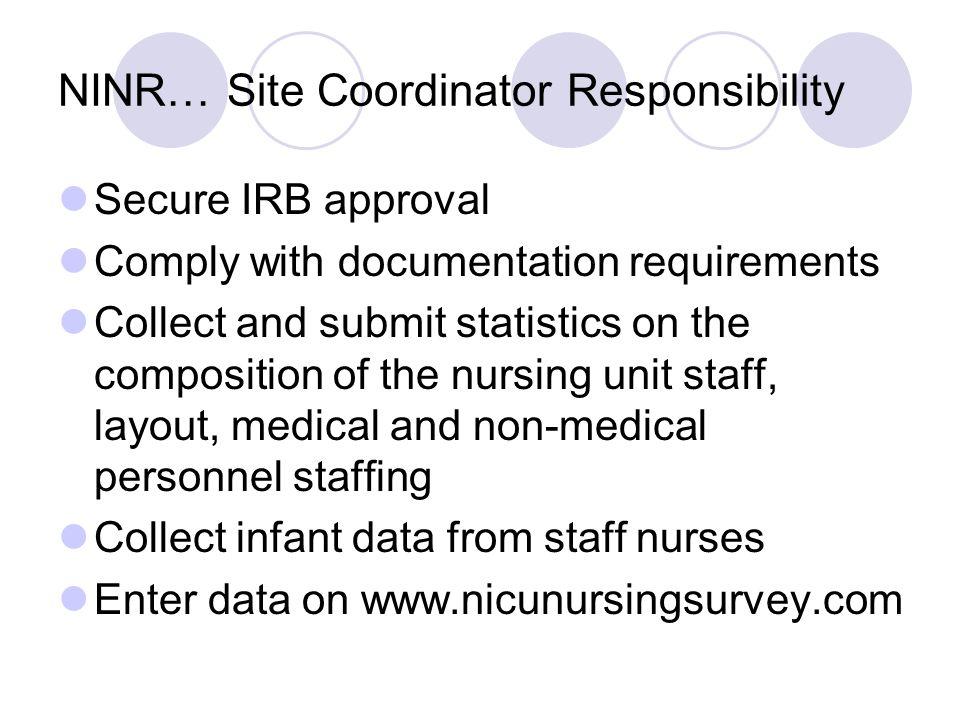 NINR… Site Coordinator Responsibility