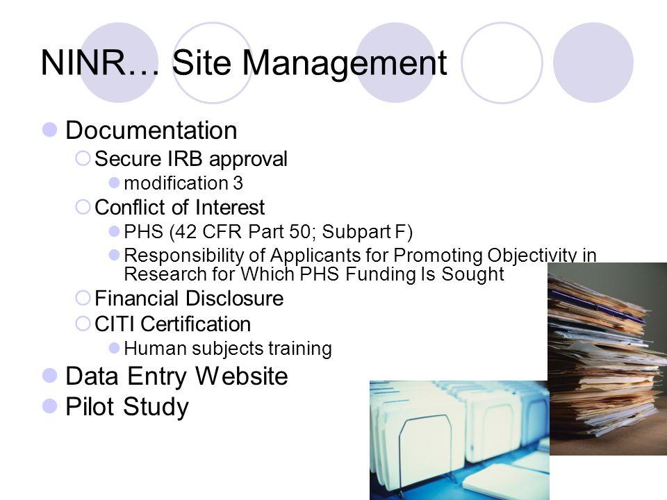NINR… Site Management Documentation Data Entry Website Pilot Study