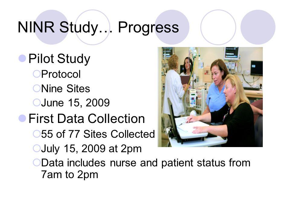 NINR Study… Progress Pilot Study First Data Collection Protocol