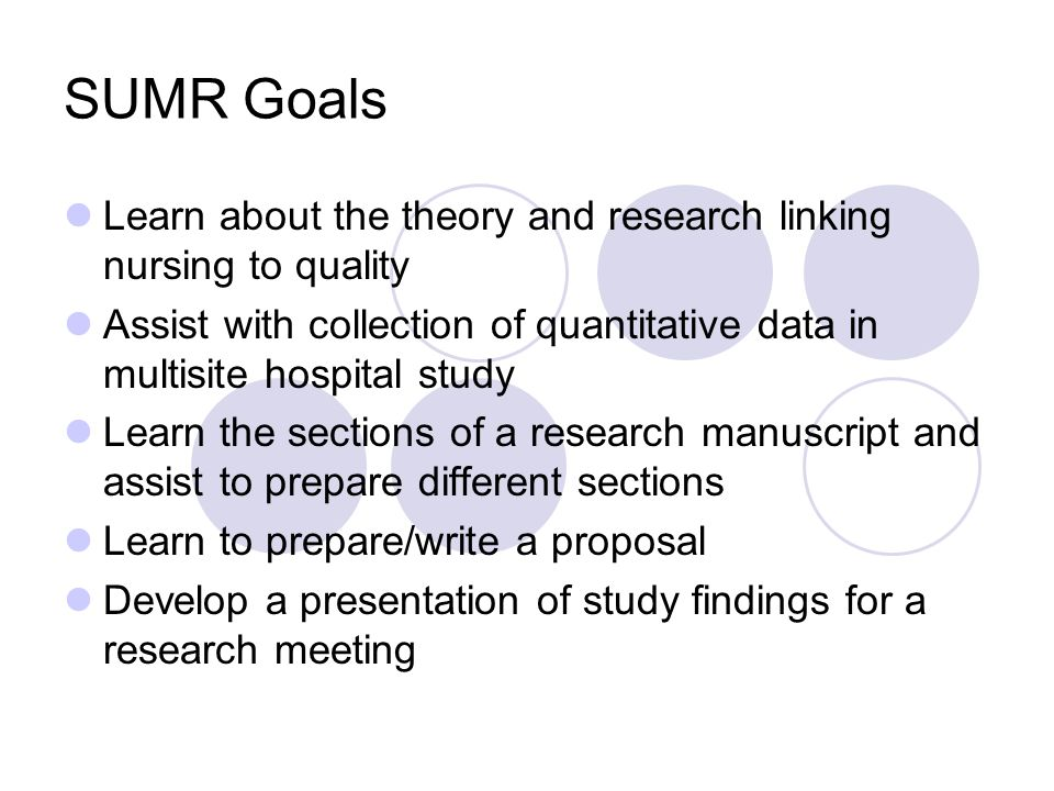 SUMR Goals Learn about the theory and research linking nursing to quality. Assist with collection of quantitative data in multisite hospital study.