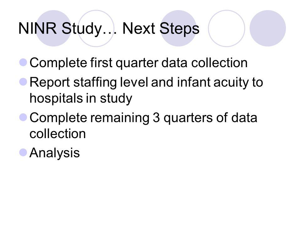 NINR Study… Next Steps Complete first quarter data collection