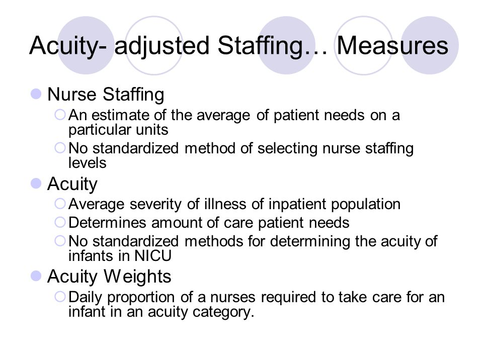 Acuity- adjusted Staffing… Measures