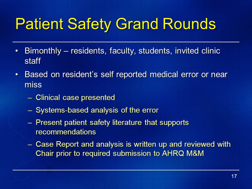 Patient Safety Grand Rounds