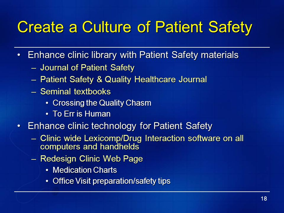 Create a Culture of Patient Safety