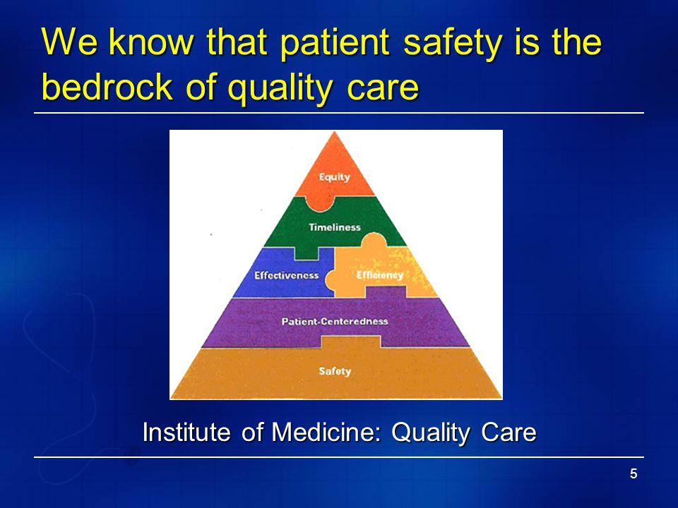 We know that patient safety is the bedrock of quality care