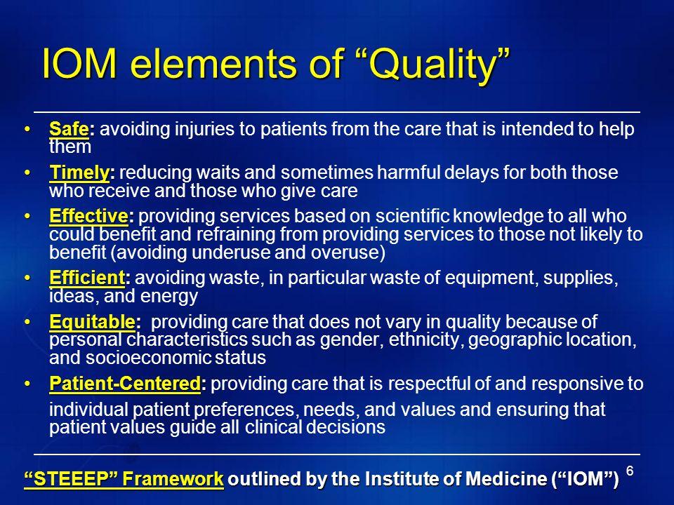 IOM elements of Quality