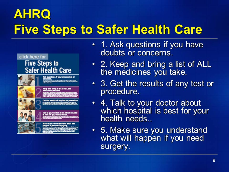 AHRQ Five Steps to Safer Health Care
