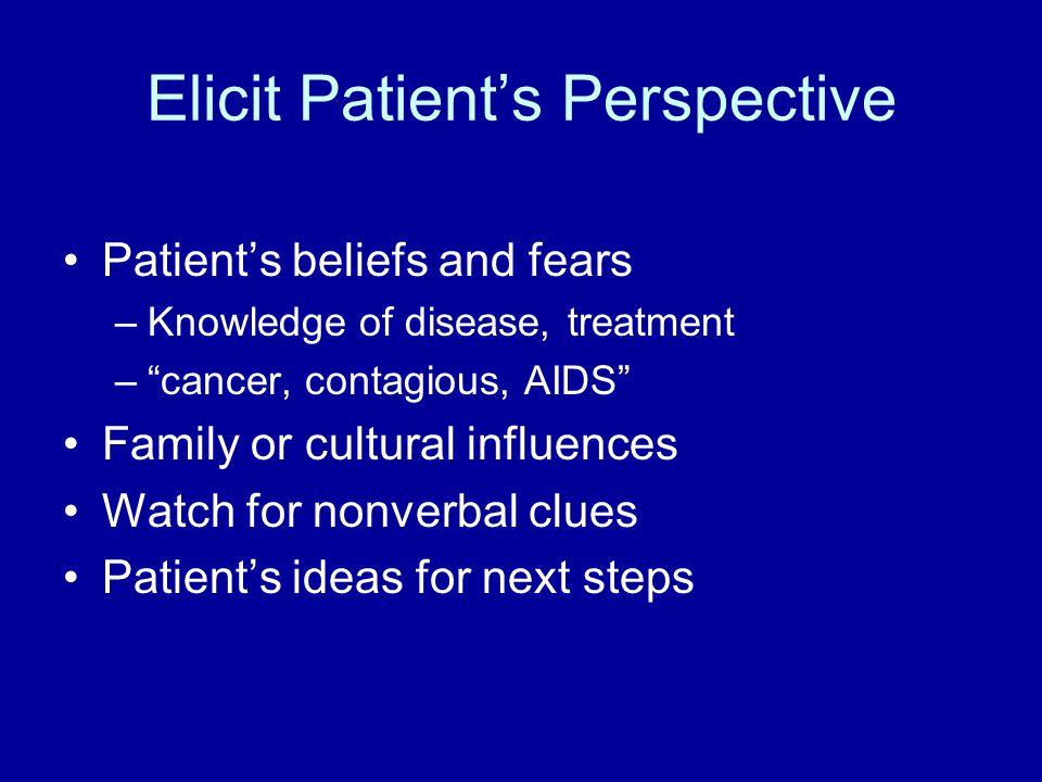 Elicit Patient's Perspective