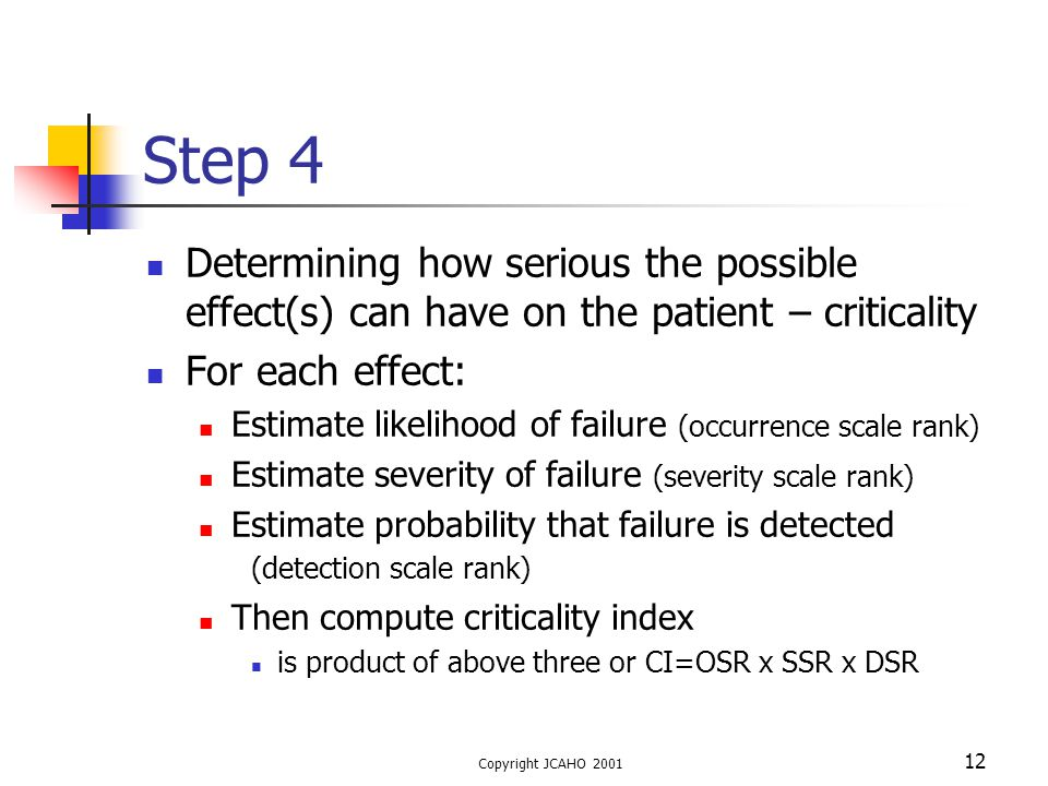 Step 4 Determining how serious the possible effect(s) can have on the patient – criticality. For each effect: