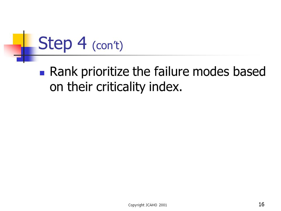 Step 4 (con't) Rank prioritize the failure modes based on their criticality index.
