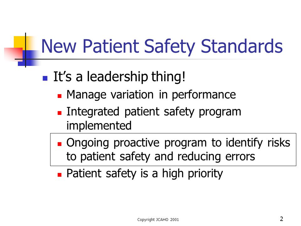 New Patient Safety Standards