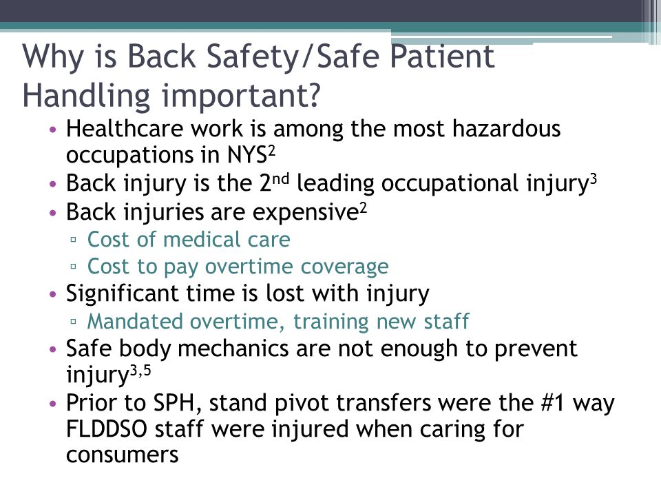 Why is Back Safety/Safe Patient Handling important