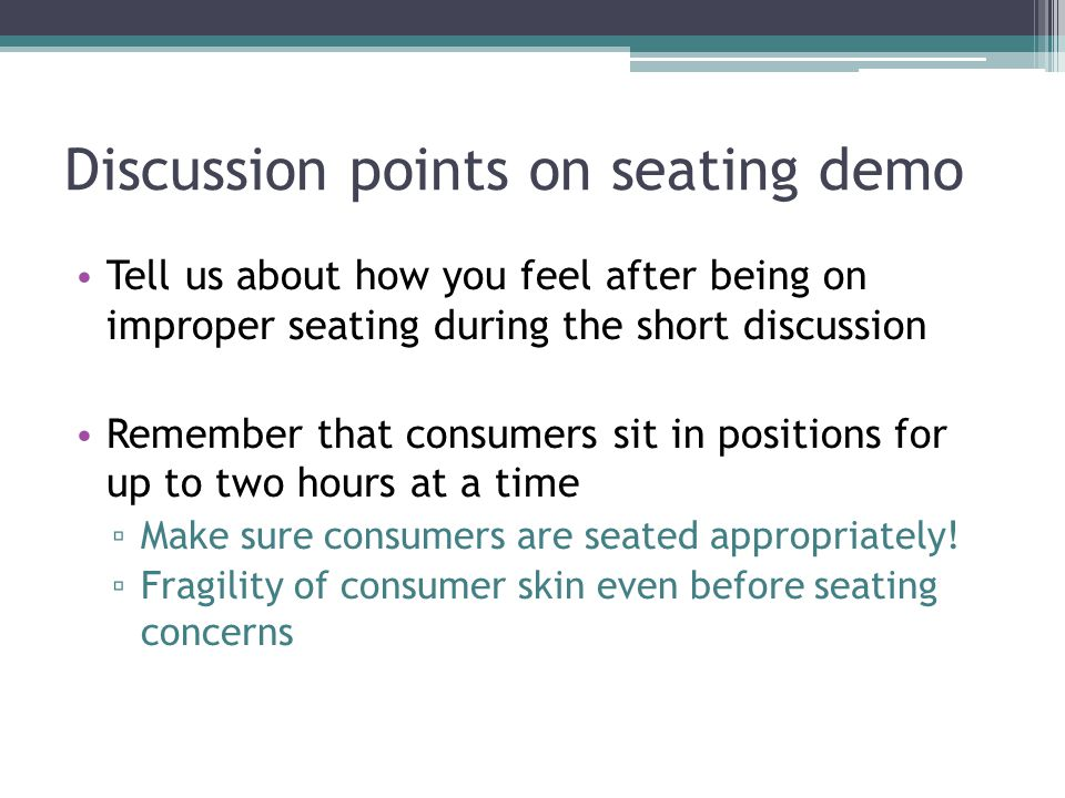 Discussion points on seating demo