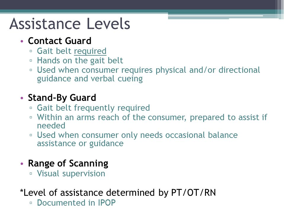 Assistance Levels Contact Guard Stand-By Guard Range of Scanning