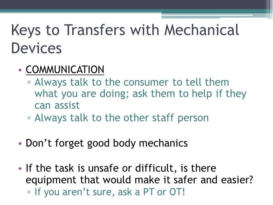 Keys to Transfers with Mechanical Devices