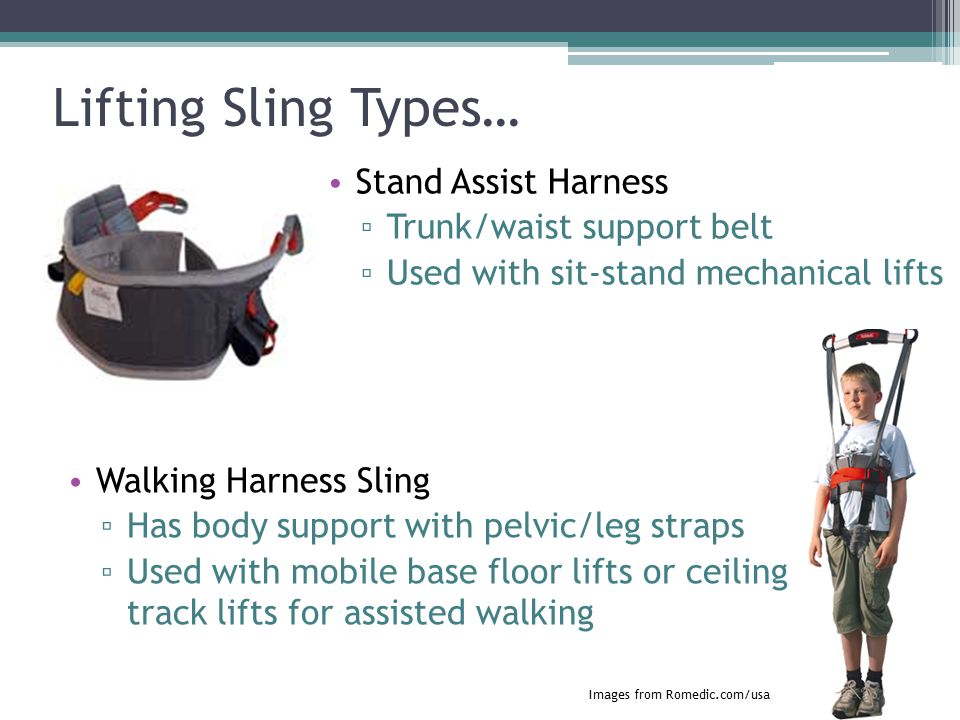 Lifting Sling Types… Stand Assist Harness Trunk/waist support belt