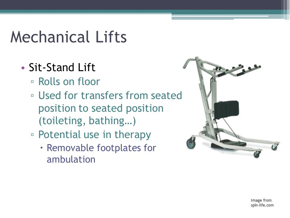 Mechanical Lifts Sit-Stand Lift Rolls on floor