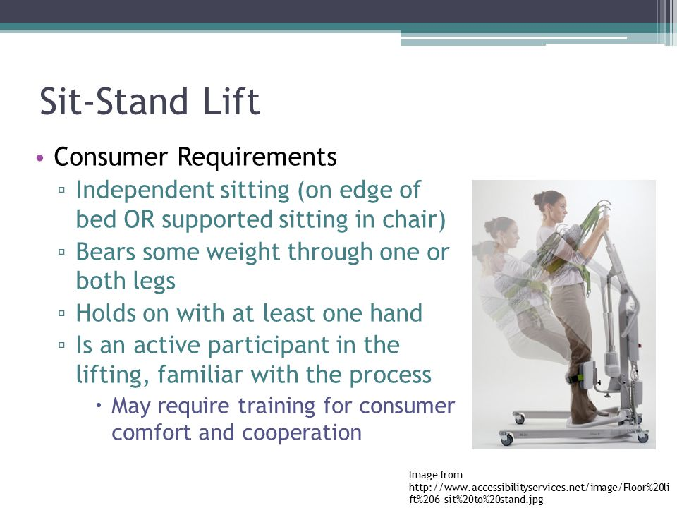 Sit-Stand Lift Consumer Requirements
