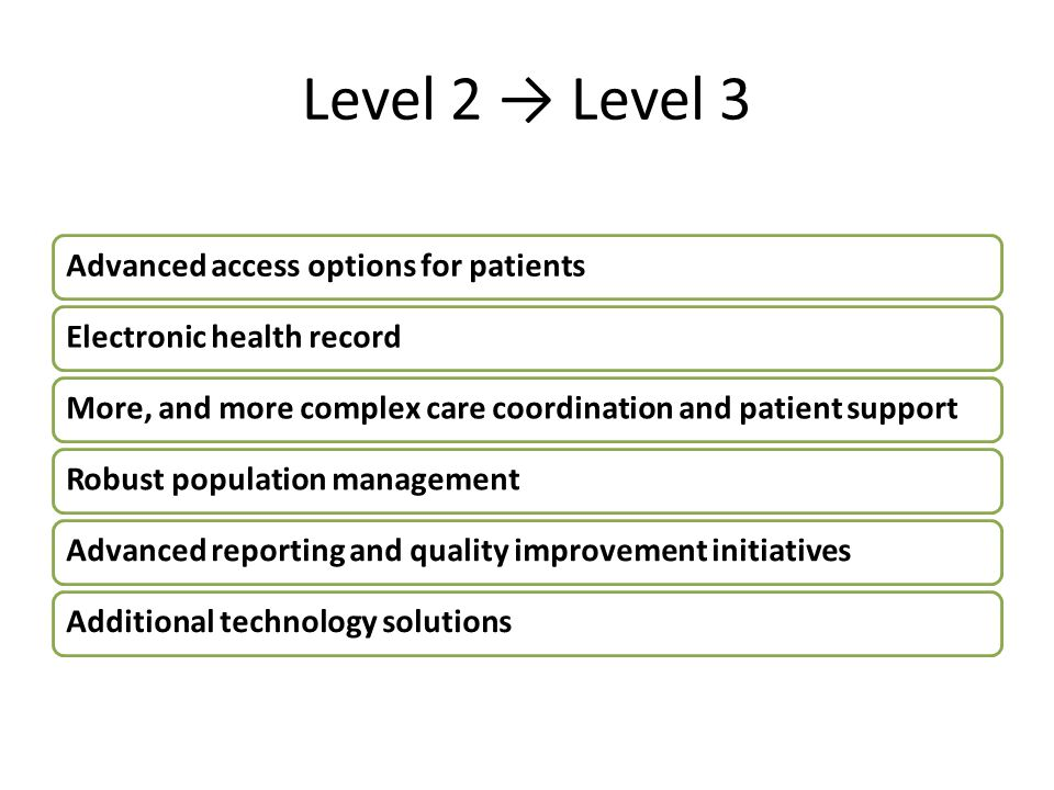 Level 2 → Level 3 Advanced access options for patients