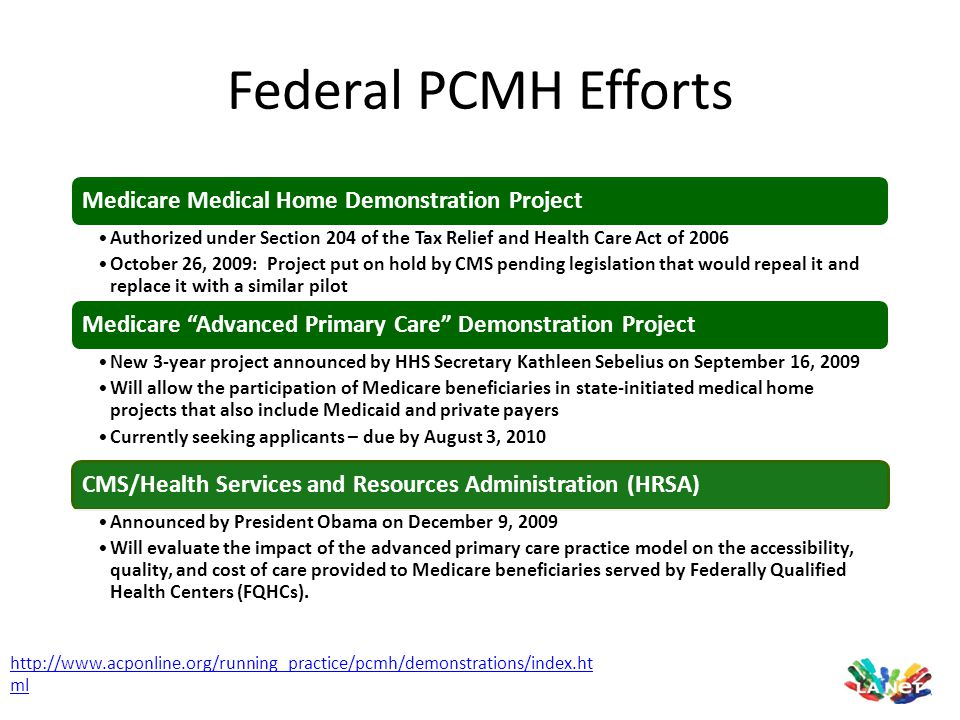 Federal PCMH Efforts Medicare Medical Home Demonstration Project. Authorized under Section 204 of the Tax Relief and Health Care Act of 2006.