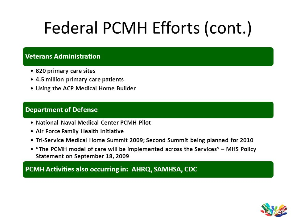 Federal PCMH Efforts (cont.)