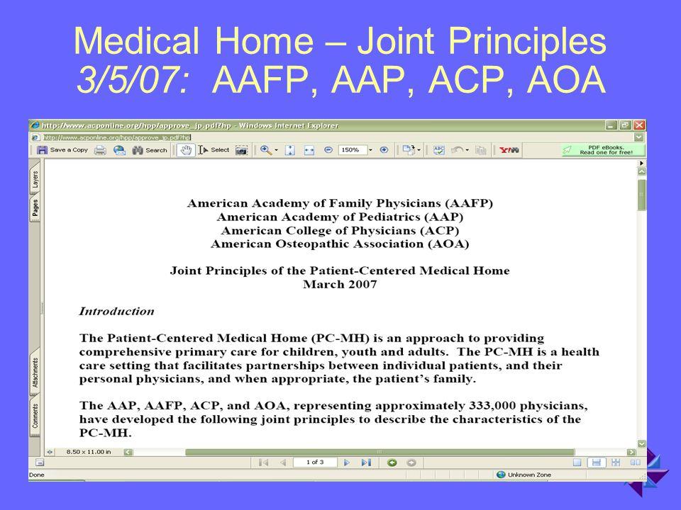 Medical Home – Joint Principles 3/5/07: AAFP, AAP, ACP, AOA