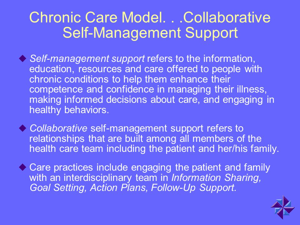 Chronic Care Model. . .Collaborative Self-Management Support