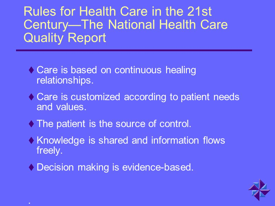 Rules for Health Care in the 21st Century—The National Health Care Quality Report