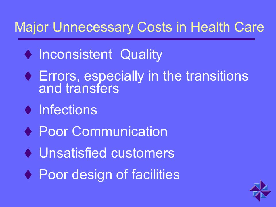Major Unnecessary Costs in Health Care