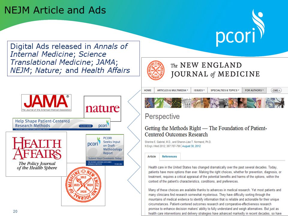 NEJM Article and Ads Digital Ads released in Annals of Internal Medicine; Science Translational Medicine; JAMA; NEJM; Nature; and Health Affairs.