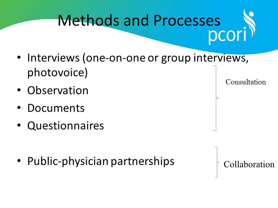 Methods and Processes Interviews (one-on-one or group interviews, photovoice) Observation. Documents.