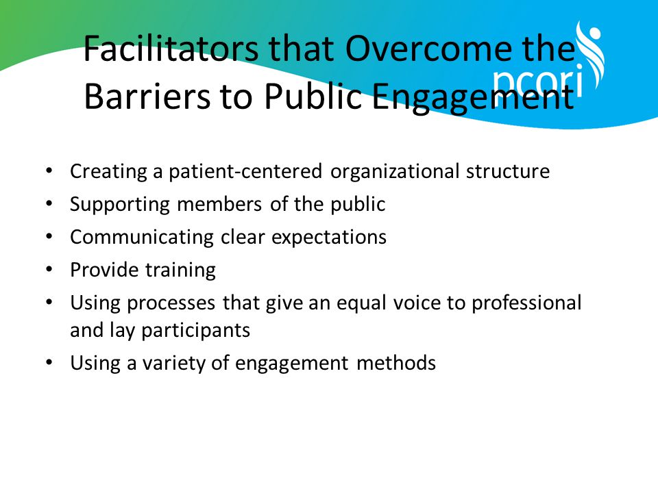 Facilitators that Overcome the Barriers to Public Engagement