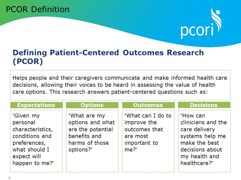 PCOR Definition Defining Patient-Centered Outcomes Research (PCOR)