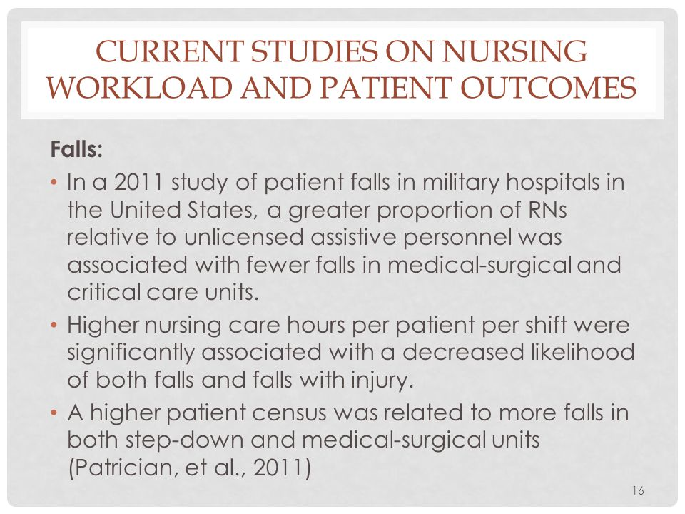 Current Studies on nursing workload and patient outcomes